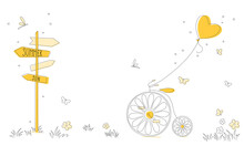 Hand Drawn Vector Illustration Of Vintage Bicycle With Chamomile Wheels Ride To The Summer.