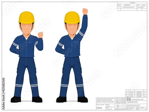 Obraz Two industrial workers are raising his clenched fist - fototapety do salonu