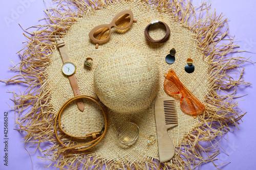 Obraz Stylish female accessories on color background - fototapety do salonu