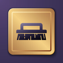 Purple Brush For Cleaning Icon Isolated On Purple Background. Gold Square Button. Vector