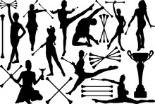 Baton Twirling SVG Cut Files | Twirling Svg | Cheer Leader Svg | Sport Baton Silhouette