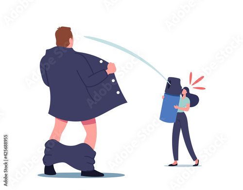 Canvas Print Woman Defend Herself with Gas Aerosol Spraying in Male Exhibitionist Character w