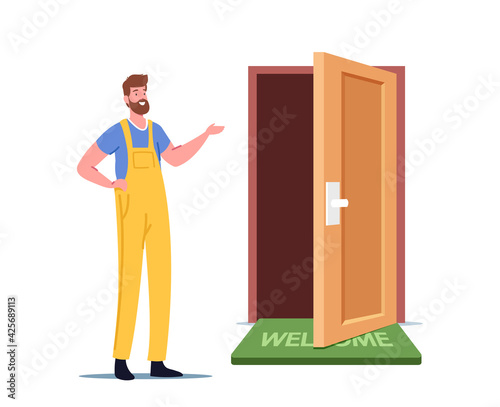 Obraz Construction Repairing Service, Call Master Male Character in Working Overalls Presenting New Door in Apartment - fototapety do salonu