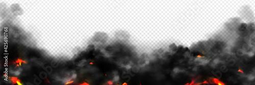 Fototapeta Realistic smoke with fire glow or sparks border