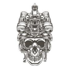 Skull Design Wearing A Tactical Military Helmet