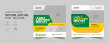 Lawn Mower Garden Or Landscaping Service Social Media Post And Web Banner Template. Mowing Poster, Leaflet, Poster Design. Grass, Equipment, Gardener