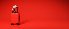 3D Rendering, Travel Concept Red Baggage, Camera And Hat On Red Background
