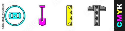 Fotografie, Obraz Set Electrical outlet, Shovel, Ruler and T-square line icon