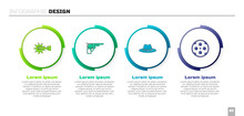 Set Spur, Revolver Gun, Western Cowboy Hat And Cylinder. Business Infographic Template. Vector