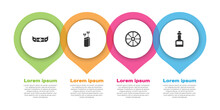 Set Kayak Or Canoe And Paddle, Quiver With Arrows, Old Wooden Wheel And Tabasco Sauce. Business Infographic Template. Vector