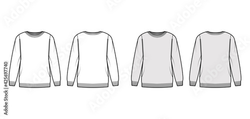 Canvas Print Sweater technical fashion illustration with rib crew neck, long sleeves, oversized, thigh length, knit cuff trim