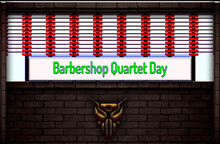 April Month Special Day. Barbershop Quartet Day, Neon Text Effect On Bricks Background