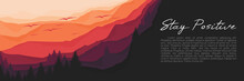 Mountain Forest Sunset Flat Design Vector Banner Template Good For Web Banner, Ads Banner, Tourism Banner, Wallpaper, Background Template, And Adventure Design Backdrop
