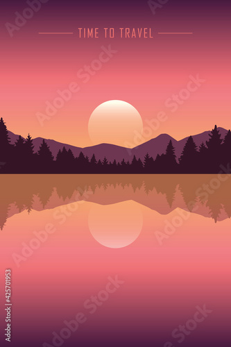 time to travel peaceful lake with mountain and forest view