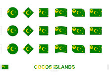 Cocos Islands Flag Set, Simple Flags Of Cocos Islands With Three Different Effects.