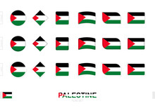 Palestine Flag Set, Simple Flags Of Palestine With Three Different Effects.