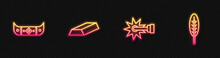Set Line Spur, Kayak Or Canoe And Paddle, Gold Bars And Indian Feather. Glowing Neon Icon. Vector