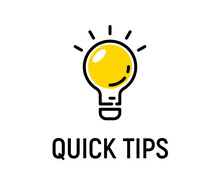 Quick Tip Hint Vector Icon Bulb. Fact Tip Idea Line Icon Logo Guide