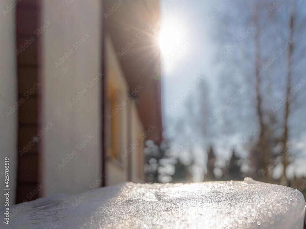 Fototapeta Zima, wiosna, słońce, śnieg
