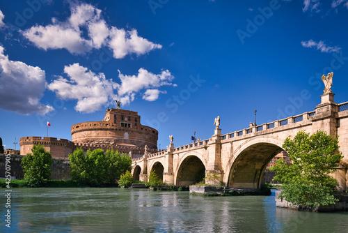 Canvas Castel Sant'Angelo and bridge Sant'Angelo, Rome, Italy