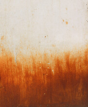 Rusty Metal Surface With A Gradient Between White And Orange Of Corrosion With Natural Brush Stroke Effect Like Painting Of The Flames Of A Fire - Worn Steampunk Background