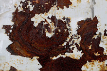 Rusty Metal Surface With Peeling Painting In The Shape Of A Wave Or A Dragon - Texture For Steampunk Background