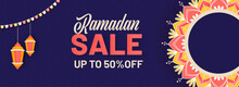 UP TO 50% Off For Ramadan Sale Header Or Banner Design In Blue Color.
