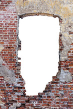 Destroyed Wall With A Red Brick Hole In The Middle. Isolated On White Background. Vertical Frame. Grunge Frame