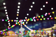 The Luminous Rays From The Lanterns Are Multicolored, From The Bokeh Effect Of The Photo Lens