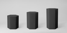 Black 3d Hexagon Podium Set With Perspective Isolated On Grey Background. Product Podium Mockup In Hexagon Shape, Pillar, Empty Museum Stages Or Pedestal. 3d Basic Geometric Shape Vector Illustration