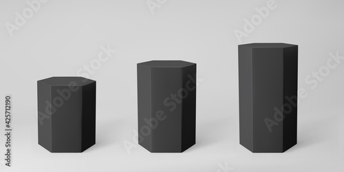 Photo Black 3d hexagon podium set with perspective isolated on grey background