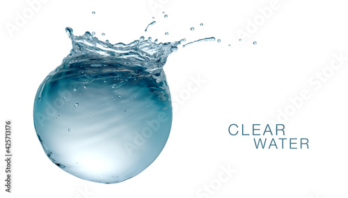 Fototapeta Sphere Water tank with air bubbles ripples and splashes, environmental ecology conceptual design, isolated on white background obraz na płótnie
