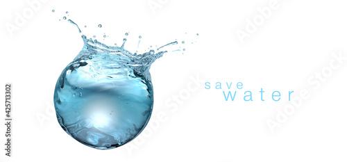 Fototapeta Water sphere with droplets and splash on flat white background obraz na płótnie