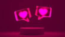 3D Rendering Flying Neon Heart Glassmorphism Message Bubble