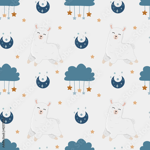 Fototapeta premium Seamless vector pattern with alpaca, stars, and moon. Trendy baby texture for fabric, wallpaper, apparel, wrapping.