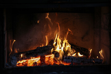 Close up of a burning fireplace at home