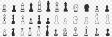Chessmen On Board Doodle Set. Collection Of Hand Drawn Various Chessmen For Playing Game White And Black On Board For Chess Isolated On Transparent Background