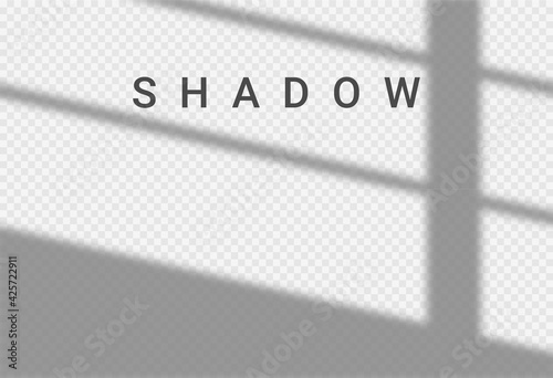 Obraz Shadow light overlay window wall scene mockup. Shadow transparent background - fototapety do salonu