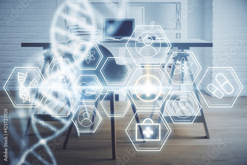 Obraz Double exposure of dna drawing and office interior background. Concept of science. - fototapety do salonu