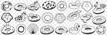 Circles For Swimming Doodle Set. Collection Of Hand Drawn Special Circles With Decorations For Relaxations And Swimming In Sea Ocean Swimming Pool On Vacations Trips Isolated On Transparent Background