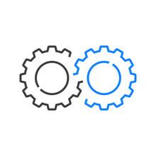 Maquinaría Industrial. 2 Engranajes Entrelazados Con Lineas En Color Gris Y Azul
