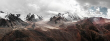 Aerial Panorama View Of Mountain Landscape In Kazakhstan