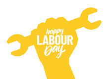 Silhouette Of Clenched Fist With Wrench, Poster With Hand Lettering Composition Of Happy Labour Day 1st Of May