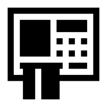 Atm Machine Creatively Designed In Linear Style Icon