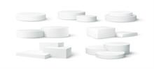 Set Of Realistic White Blank Product Podium Scene Isolated On White Background. Vector Illustration