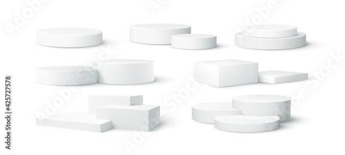 Obraz na plátně Set of realistic white blank product podium scene isolated on white background