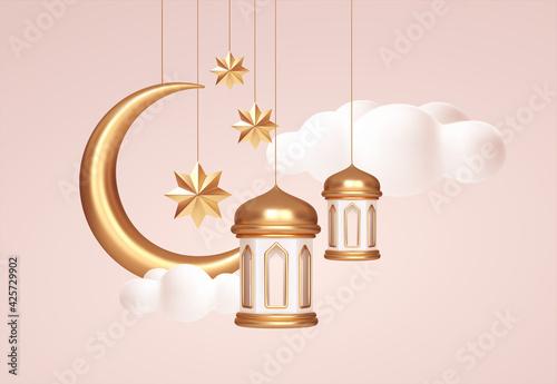 Obraz Eid Mubarak 3d realistic symbols of arab islamic holidays. Crescent moon, stars, lanterns. Vector illustration - fototapety do salonu