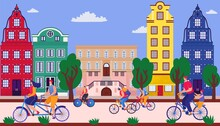 Bicycle Parade On Street, Vector Illustration. Sporting Event On Road, Fun City Holiday. Group Young People Having Fun. Festive Summer Sports.