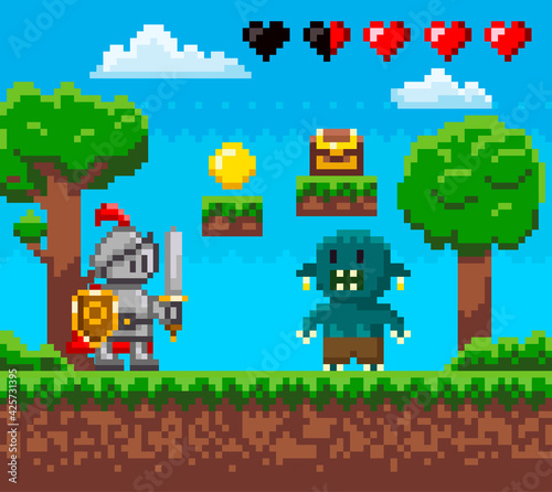 Obraz Pixel 8 bit retro game. Brave knight in iron suit fighting against monster. Zombie attacks human - fototapety do salonu
