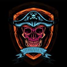 Skull Head Pirates Illustration